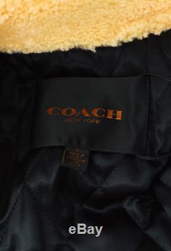Coach $1795 Black Cream Leather Shearling Boys Biker Oversized Moto Jacket SZ S