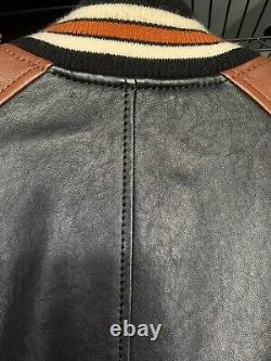 Coach Leather Varsity Thick Bomber Moto Jacket Brown Black Mens Medium M 48