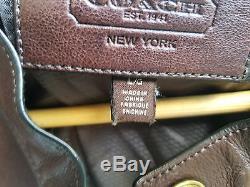 Coach Men Bleecker Leather Racer Jacket Brown/Large $998