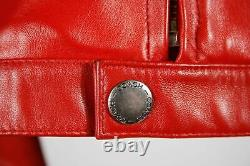 Coach Womens Moto Jacket Red Waist Length Zip Pockets Lined Mock Neck Leather S