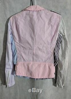 Comme des Garçons Homme Plus AD 2012 Patchwork Stripe Moto Jacket XS