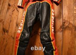 DAINESE ITALIAN LIMITED VINTAGE 1980's RACER MOTORCYCLE BIKER LEATHER SUIT 44-XS