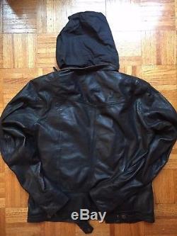 DIESEL Mens Black Leather Motorcycle Biker Bomber Jacket L or US Sz M Org. $ 898