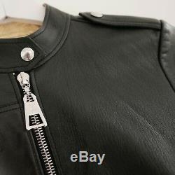 DIVINE Louis Vuitton £2500 Black Leather Gold Lined Crop Biker Jacket FR36/UK8