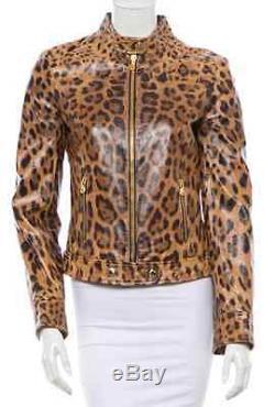 DOLCE & GABBANA Leopard Print Leather Biker Jacket. Preowned. RETAIL $2500