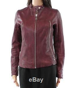DOMA Red Women's Size Medium M Zip Pocket Motorcycle Leather Jacket $690- #637