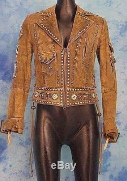 DOUBLE D RANCH SUPER CHiEF INDiAN STUDS FRiNGE BiKER PATCH WESTERN MOTO JACKET S