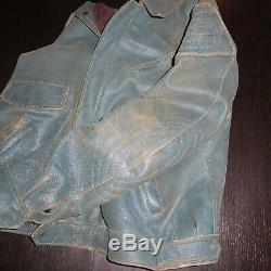 DRIES VAN NOTEN DVN Blue/Green Distressed Leather Motorcycle Jacket RaRe! Sz L
