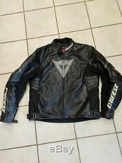 Dainese Laguna Evo Motorcycle Jacket Men's Size 58 Black Leather Armored