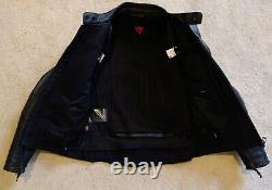 Dainese Leather Black Motorcycle Jacket Size Euro 48 Small Cage Pelle Like New