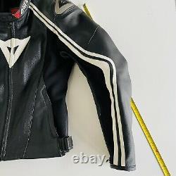Dainese Racing 3 Motorcycle Leather Riding Jacket Black/White Size 52 Large
