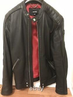 Diesel Man's Black Leather Jacket, Size XL