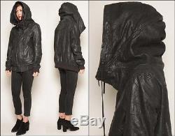 Distressed blk leather ALL SAINTS minimalist CLOAK HOOD funnel motorcycle jacket
