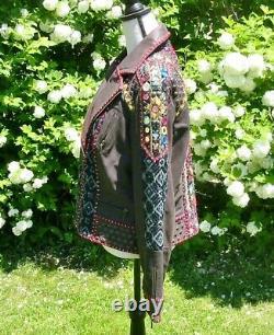 Double D Ranch Beaded Embroidered Abenaki Brown Leather Jacket XL EUC #2