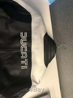 Ducati 80s Motorcycle Jacket (Size 50 Euro/ LG US) Black/White/Red by Dainese