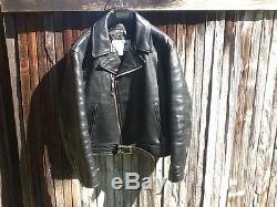 EUC Mens 44 SCHOTT LEGENDARY BLACK HORSE Horsehide Leather Motorcycle Jacket BIN