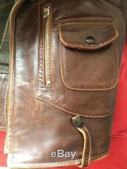 Eastman Leather ELMC Roadstar Vintage Walnut Horsehide Leather Jacket Size 38