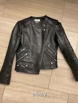 Etoile Isabel Marant Womens Leather Solid Motorcycle Jacket Black