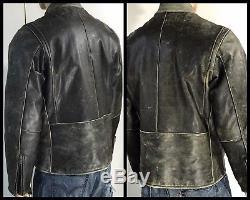 FRYE Vintage Leather Jacket Cafe Racer Motorcycle Biker Distressed Cowhide L