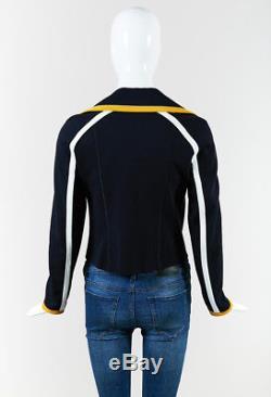 Fendi Blue Yellow & White Zipped Motorcycle Jacket SZ 42
