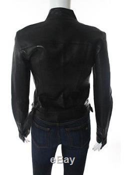 GUCCI Black Leather Crew Neck Long Sleeve Motorcycle Biker Jacket IT Sz 40