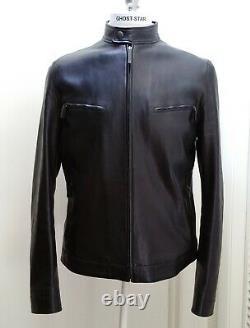 GUCCI leather jacket black coat motorcycle moto biker cafe racer sleek L 44 54