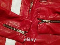 Gap Product Red Leather Cafe Racer Vtg Motorcycle Biker Jacket S M L XL XXL