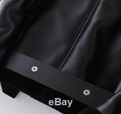 Genuine Sheepskin Lamb Wool Fur Shearling Black Moto Leather Jacket XS 6 8