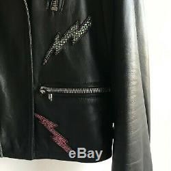 Gucci By Alessandro Michele Embroidered Leather Jacket Size 40 It Rrp$7100aud