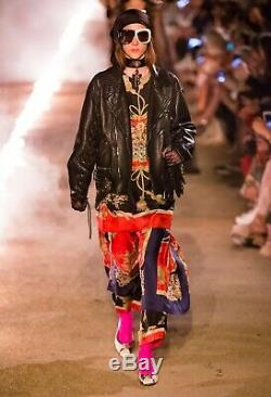 Gucci Cruise 2019 Runway Collection Hand-painted Leather Jacket Size 40 It