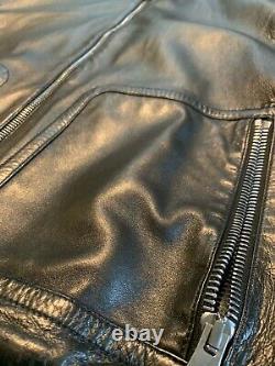 Gucci Leather Bomber Jacket Black Sz 56