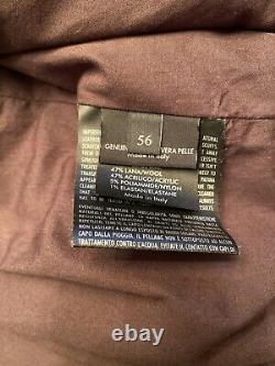 Gucci Signature Gg Monogram 100% Authentic Leather Moto Biker Jacket Brown Sz 56