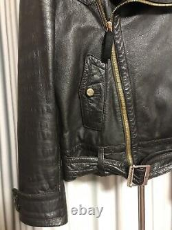 Gucci by Tom Ford belted leather jacket with Fur Moto biker Bomber Size L