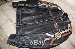 Harley Davidson Distressed Leather Motorcycle Jacket Mens Large