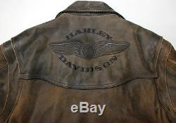 Harley Davidson Motorcycle Billings Distressed Brown Leather Jacket 3xl