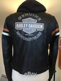 HARLEY DAVIDSON Womens L Vented Reflective 3 in 1 Leather Jacket Hoodie Liner