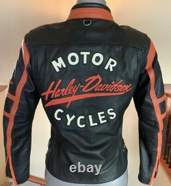 HARLEY DAVIDSON Womens S/M Leather Racing Jacket in Great Condition