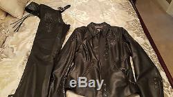 HD Womens WICKED Swarovski Skull Black Leather Jacket 97123-09VW M with chaps