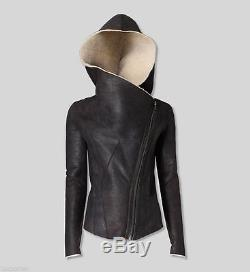 HELMUT LANG HOODED WEATHERED SHEARLING JACKET LEATHER SMALL