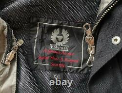 HOT Men's BELSTAFF @ BIKER MOTORCYCLE PARKA Zipper BLACK CANVAS COAT JACKET XXL