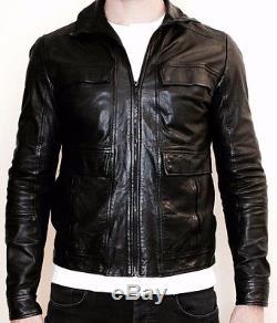 HUGO BOSS Mens Designer Black Biker Lamb Leather Jacket. SizeM (Red Label)