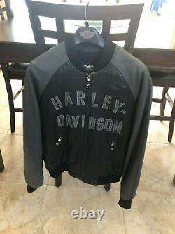 Harley Davidson 100th Anniversary Leather Bomber Jacket Mens Size Large