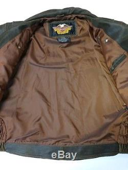 Harley Davidson Billings Brown Leather Jacket Men 2XL Distressed