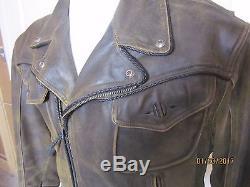Harley Davidson Brown Distressed Leather Men's Jacket Large