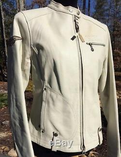 Harley Davidson CREAM CITY Studded Eagle Leather Jacket Women's Medium White