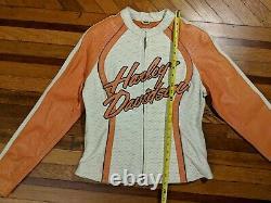 Harley Davidson Cream/Orange Perforated Leather Jacket Seasonal/Rare
