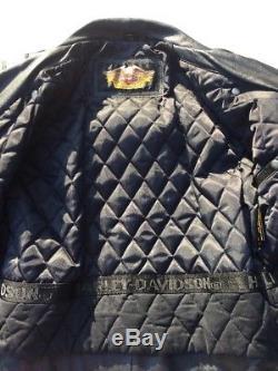 Harley Davidson Cruiser II Leather Jacket Men's Medium Embossed Eagle Black
