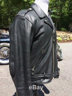 Harley Davidson Cruiser Leather Jacket Men's Large Embossed Eagle Vintage Black
