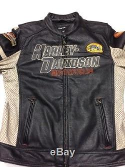 Motorcycle Riding Jackets >> Harley Davidson GUNNAR Sport Leather Jacket Men's Large Perforated Racing