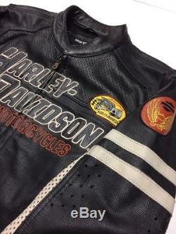 Harley Davidson GUNNAR Sport Leather Jacket Men's Large Perforated Racing